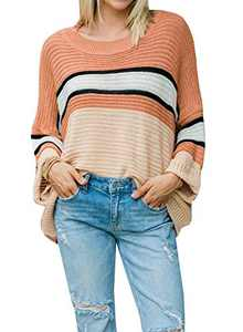 OWIN Women's Long Sleeve Pullover Sweater Crew Neck Striped Color Block Casual Loose Oversized Knitted Sweatershirt Tops