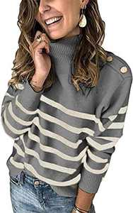 Boncasa Winter Women's Long Sleeves Knit Sweater Turtleneck Striped Print Casual Knitted Pullover Tops Deco with Metal Button Gray 2BC67-huise-S