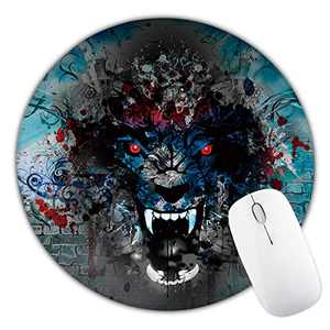 Wolf Mouse Pad, Cute Round Mousepad with Design, Non-Slip Rubber Base Mouse pad for Laptop Computer with Stitched Edge