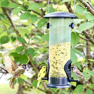 Hanizi Premium Plastic Bird Feeder Hanging Wild Bird Feeder Outdoor Classic Tube Feeder Weatherproof