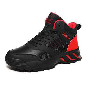 MEI NIAN GUAN High Top Sneakers for Men Classic Slip Resistant Hightop Workout Walking Wrestling Training Shoes for Youth Boys Basketball Sneakers Black Red Size 9.5
