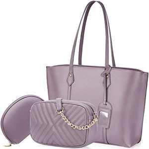 Handbag for Women Tote Bag Leather Shoulder Crossbody Bag Satchel Purse Set 3pcs (large, Purple)
