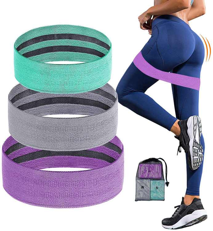 Podazz 3 Levels Non-Slip Fabric Resistant Booty Bands for Women Resistance Loop Band Set for Legs and Butt Elastic Workout Resist Exercise Band Set