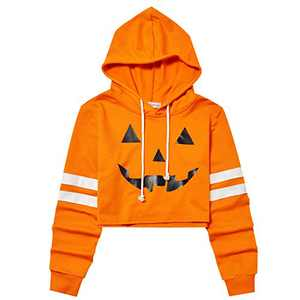 Women Cropped Pumpkin Hoodie Long Sleeve Loose Pullover Crop Top Sweatshirts Orange
