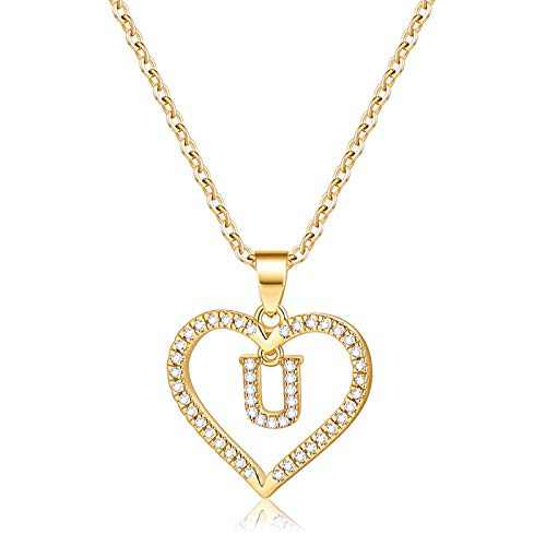 IEFSHINY Initials Letter Necklace for Women Girls, 14k Gold Plated U Letter Big Necklaces for Women CZ Pendant Necklace with Initials for Women Teen Girls Teenage Gifts