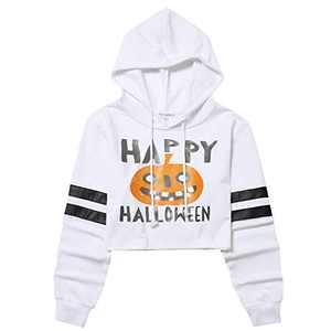 Women Cropped Pumpkin Hoodie Long Sleeve Pullover Crop Top Drawstring Sweatshirts