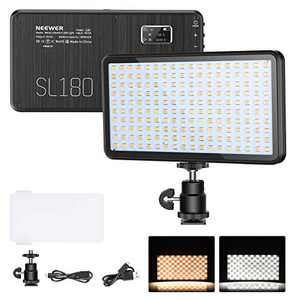 Neewer SL180 12W On-Camera Video Light, Pocket-Size 180 SMD LED/Bi-Color 3200-5600K/CRI95+/Built-in 4000mAh Battery/OLED Display/Premium Aluminum Alloy Shell/5V Type C Input and Output