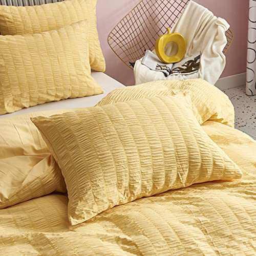Sioloc Yellow Duvet Cover Queen, Textured Set with Zipper Closure, Lightweight Duvet Cover Set, Summer Cooling Bedding Set(1 Duvet Cover 2 Pillowcase)