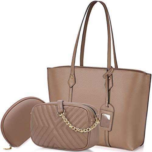 Handbag for Women Tote Bag Leather Shoulder Crossbody Bag Satchel Purse Set 3pcs (Khaki)