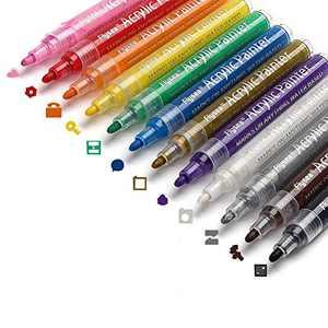 ForFine Acrylic Paint Marker Pens 12 Colors Paint Pens for Rock Painting, Canvas, Wood, Glass, Craft Supplies, Fabric, Metal, Plastic, Ceramic, Mug, Tires, Card Making, DIY Photo Album (2-3mm Medium Tip)