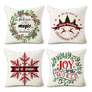 Hexagram Christmas Pillow Covers 18x18 Set of 4 Cotton Line Farmhouse Home Decor Cusion Pillow Case Winter Holiday Christmas Throw Pillow Cover
