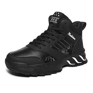 MEI NIAN GUAN Mens Tennis Shoes Fashion High Top Black Athletic Antislip Work Comfy Cool Walking Gym Workout Sport Snickers Basketball Sneakers Size 11