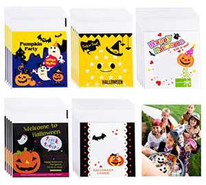 200 PCS Halloween Candy Bags Self Adhesive Trick or Treat Clear Cookie Bags Cellophane Treat Bags for Party Gift Supplies 5 Styles