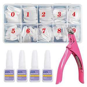 Aliciya False Nail Tips Set, 500pcs Clear Fake Nails Tips for Women with Case,10 Sizes, 1pcs Nail Clippers, 4pcs Nail Glue, for Home DIY Nail Design & Nail Salons, for Large and Small Nails (Clear Coffin)