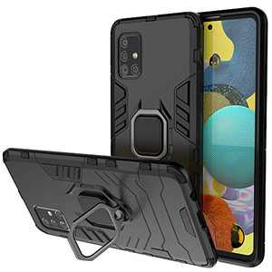 BIBERCAS Compatible with Samsung Galaxy A51 5G Case with Ring,360¡ã Rotatable Ring Kickstand Shockproof Protective Cover Case for Galaxy A51 5G(NOT fit for A51 4G)Fit Magnetic Car Mount 6.5 inch-Black