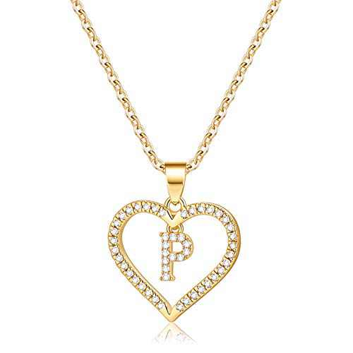 IEFSHINY Initials Letter Necklace for Women Girls, 14k Gold Plated P Letter Big Necklaces for Women CZ Pendant Necklace with Initials for Women Teen Girls Kids Jewelry Teenage Gifts