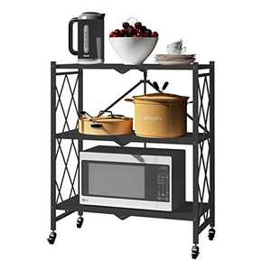 WHIFEA 3 Tier Foldable No Assembly Storage Shelves with Wheels 28.3''15''33.9'' Free Standing Metal Wire Rack Heavy Duty Pantry Collapsible Organizer for Kitchen Bedroom Bathroom Office Black