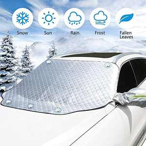 Vodche Car Windshield Snow Cover with Rearview Mirror Cover, 4 Layers of Protection and Embedded Magnets for Waterproof, Sunshade, Antifrost, Extra Large Size Fits Most Vehicles and SUVs
