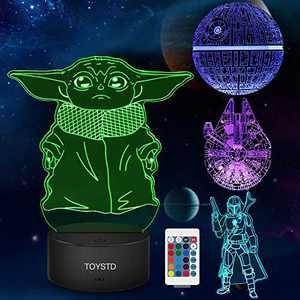 Baby Yoda Star Wars Gift Night Light with 4 Pattern and 7 Color Change Decor Lamp - Perfect Gifts for Star Wars Fans Mens Boys and Girls Hologram Lamp