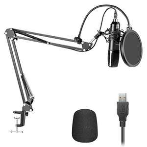 Neewer USB200 Microphone Kit 192KHz/24Bit Plug&Play Cardioid Condenser Mic with Professional Sound Chipset, Arm Stand, Shock Mount, Pop Filter, Included for Tiktok/YouTube Video/Broadcasting/Gaming