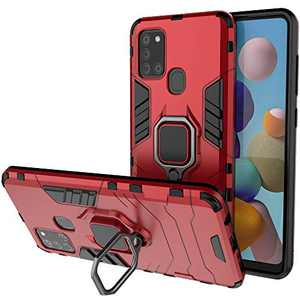 BIBERCAS Compatible with Samsung Galaxy A21S Case with Ring,360¡ã Rotatable Ring Kickstand Full Body Shockproof Protective Cover Case for Galaxy A21S (NOT fit A21) Fit Magnetic Car Mount 6.5 inch-Red