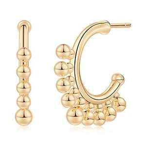 Gold Huggie Hoop Earrings for Women, Hypoallergenic S925 Sterling Silver Post 14K Gold Plated Drop Ball Open Hoop Earrings Dainty Huggie Earrings for Women Girls Jewelry Gifts