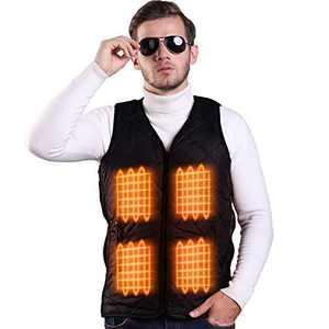FERNIDA Electric Heated Vest Lightweight Size Adjustable Heating Vest Jacket Cold-Proof Clothes(Battery Not Included) (Black-M)