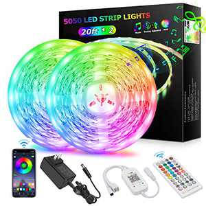 5050 RGB 360LEDs Strip Lights 40ft/12M Bluetooth APP Wireless IR 40 Keys Remote Control 16 Million Color Changing Music Sync for Bed, Bedroom,Kitchen,TV, Party.Under Bed Lighting