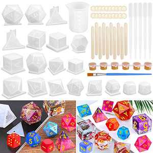 Resin Dice Molds, Shynek 19 Styles Polyhedral Game Dice Molds Set with Silicone Dice Mold, Mixing Sticks, Measuring Cup, Droppers, Acrylic Paints Set for Epoxy Resin Dice Making