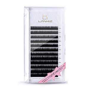 LANKIZ Ellipse Eyelash Extensions 0.2mm C Curl 12mm Flat Eyelash Extension Light Lashes Mink Individual Eyelashes Extension Mink False Lashes Supplies for Salon