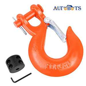 """AUTOBOTS Grade 70 Latch Clevis Slip Hook & Winch Cable Hook Stopper Sets with Heavy-Duty Forged Steel 3/8"""", Included Allen Wrench, Max 35,000 lbs,Orange & Black"""