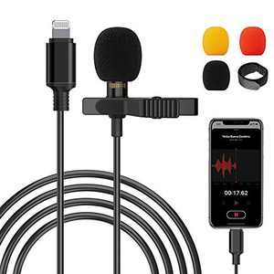 Professional Lapel Microphone Omnidirectional Condenser Microphone for Streaming and Recording, Lavalier Microphone Compatible with iPhone Perfect for Audio Video, YouTube, Interview (6.6ft)