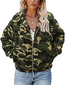 TECREW Women's Fleece Coat Lapel Fuzzy Faux Zip Up Short Pocket Jacket Outwear Camo
