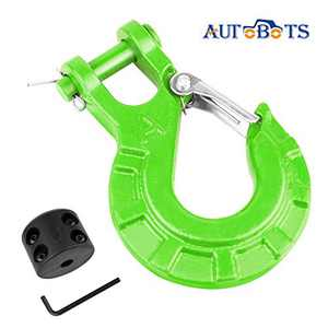"AUTOBOTS 3/8"" Winch Cable Hook Set, Heavy Duty Forged Steel Grade 70 Latch Clevis Slip Hook, Included Allen Wrench & Winch Hook Stopper, Max 35,000 lbs,Green & Black"