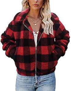 TECREW Women's Fleece Coat Lapel Fuzzy Faux Zip Up Short Pocket Jacket Outwear Red