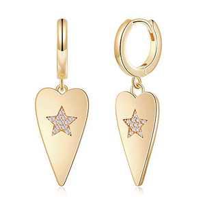 Heart Star Earrings for Women Huggie Hoop, Hypoallergenic S925 Sterling Silver Post 14K Gold Plated Heart Star Drop Dangle Hoop Earrings Dainty Huggie Earrings for Women Girls Jewelry Gifts