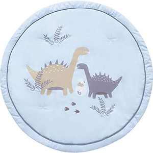 My Little Zone Round Cotton Playmat - Baby Mats for Infants, Dinosaur Safari Theme Nursery Decor, 36 inch, Blue