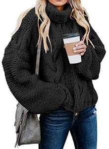 Chase Secret Womens Casual Cowl Turtle Neck Sweater Trendy Lantern Sleeve Oversized Loose Fit Sweater Juniors Plain Pullover Tops BlackLarge