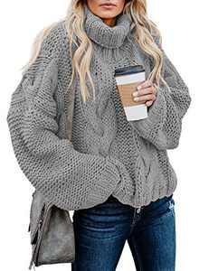 Chase Secret Womens Lightweight High Neck Knit Sweater Casual Cable Knit Sweater Tops Cute Fashion 2020 Fall Pullover Jumper GrayLarge