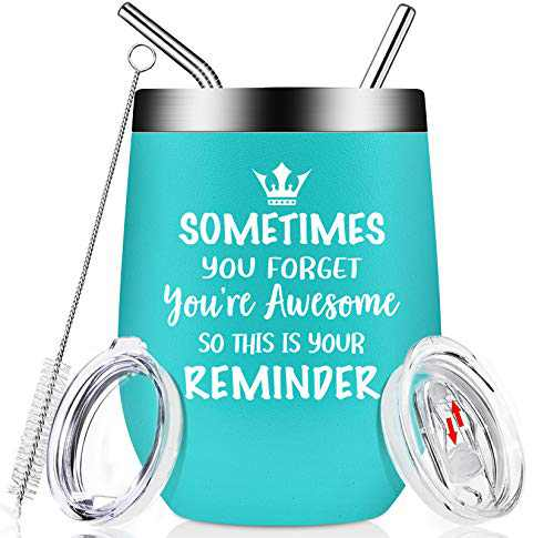 Thank You Gifts - Sometimes You Forget You're Awesome - Funny Inspirational Birthday Gifts for Women, Men, Coworker, Best Friends, Sister, Wife, Teacher, Employee - Insulated 12oz Wine Tumbler