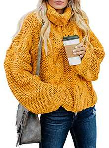 Chase Secret Womens Contrast Turtleneck Sweater Cable Knit Pullover Tops Cute Winter Warm Trendy Soft Ladies Loose Jumpers L Black Yellow Medium