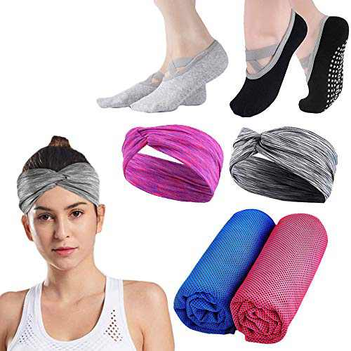 Yoga Set / Sports Set, Yoga Socks Cooling Towel Sports Headbands for Women Girl Sports, Workout, Fitness, Gym, Yoga, Pilates, Travel (2+2+2 Packs)