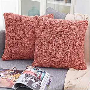 PAULEON Throw Pillow Covers 20x20 – Sherpa, Melange Samba, Set of 2 – Decorative Cushion Cases – Perfect for Couch, Sofa, Bed, Accent Pillows