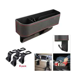 CCICITA Car Seat Organizer Front Seat Gap Filler with 4 Seat Back Hooks, Multifunctional PU Leather Covers Storage Box for Auto Seat Console, Coin Key and Mobile Phone Organizers,Passenger Side