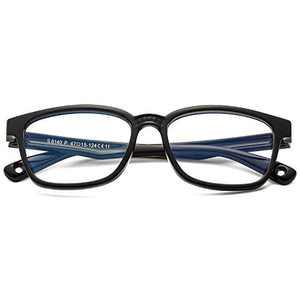Kids Blue Light Blocking Glasses for Boys Girls Computer Gaming TV Phone Square Frame Eyeglasses 3-12 (Bright Black)