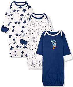 Maybe Baby Kids Infant Boys' and Girls' 3 Pack Set Cotton Baby Nightgowns w/Mitten Cuffs, 0-6 Months, Rocket Moon Astronaut