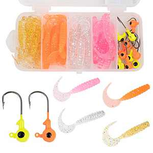 Wrap-A-Loc Soft Fishing Lures 50 Pcs- Original Grub Baits for bass - Artificial Lure Baits for Salt & Freshwater - Fishing Kit with Jig Heads - Real Life Fishing Baits - Moving Dynamic Lures