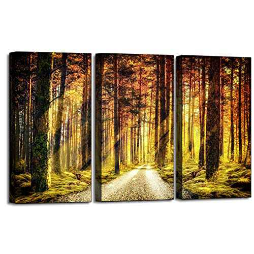 ATOBART Canvas Wall Art Sunlight shuttles Through The Forest, Landscape Picture Artwork Framed for Home Office Living Room Bedroom Wall Decor 3 Panels-12x16x1.25 inch