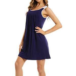 Lu's ChicWomen'sTankNightgownsSleevelessNightshirtShortSolidPlainLoungewear Navy Small