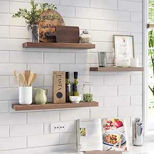 AMZFINE Floating Shelves Wall Mounted Set of 3,Wood Decoration Shelves, for Livingroom, Kitchen, Bathroom, Bedroom, Dark Colored